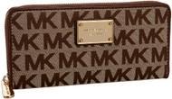 Michael Kors MK Logo Zip Around Continental Wallet in Beige, Ebony & Mocha