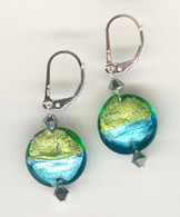 Aqua and grass green silver foil lined lentil earrings