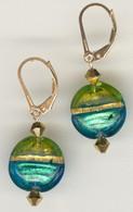 Aqua and grass green gold foil lined lentil earrings