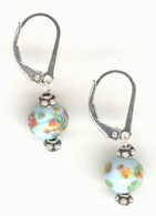 "Light blue ""millefiori"" glass earrings"