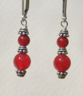 4 & 6mm carnelian doublewrap earrings
