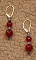 6 & 8mm carnelian doublewrap earrings