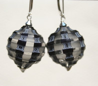 Grey, black and white blown and sculpted spherical earrings