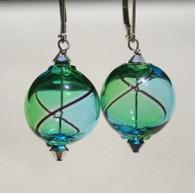 Round aqua and emerald yin yang design Murano glass earrings