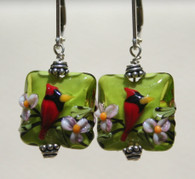 "Spring green lampworked square ""pillow"" shaped earrings with cardinals"