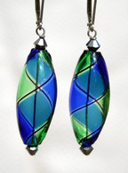 Cobalt and light emerald olive shaped yin yang design Murano glass earrings