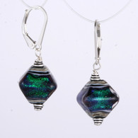 Emerald dichroic lampworked crystal shaped earrings
