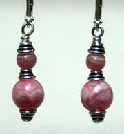 Simple double wrapped Rhodocrosite earrings