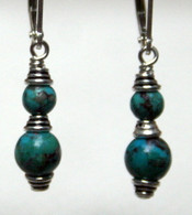 Simple double wrapped Turquoise earrings
