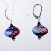 Onion shaped purple and lavender yin yang design Murano glass earrings