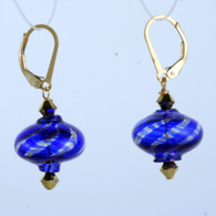 Onion shaped cobalt and gold aventurine spiral Murano glass earrings