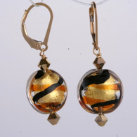 Brown and amber ribbon gold foil lined lentil earrings