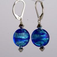 Aqua and cobalt ribbon silver foil lined lentil earrings