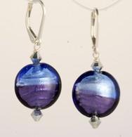 Two-tone blue silver foil lined Venetian glass lentil earrings