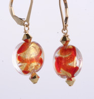 Red ribbon and gold foil lined lentil earrings