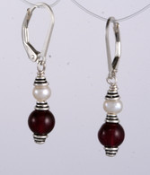 Classic double wrapped pearl and garnet earrings