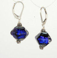 Cobalt dichroic lampworked glass crystal shaped earrings