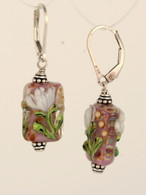 white floral lampworked rectangular earrings