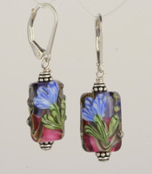 Blue floral lampworked rectangular earrings