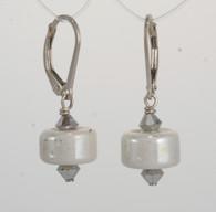 Creamy white luster lampworked earrings