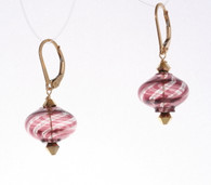 mauve, gold and clear striped onion shaped Murano glass earrings