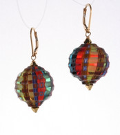 Mulit colored sculpted spherical earrings