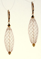 White, gold and clear striped Olive shaped Murano glass earrings