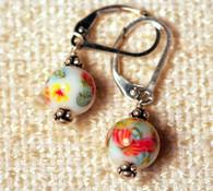 "White ""millefiori"" glass earrings"