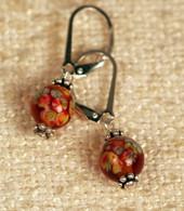 "Clear amber ""millefiori"" glass earrings"