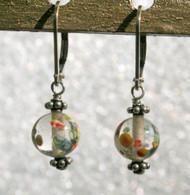 """Clear """"millefiori"""" glass earrings"""