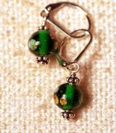 "Clear emerald green ""millefiori"" glass earrings"