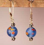 """Frosted sky blue """"millefiori"""" glass earrings"""