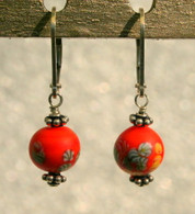 "Matte orange ""millefiori"" glass earrings"