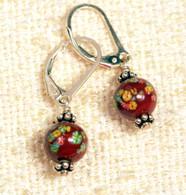 "Chestnut brown ""millefiori"" glass earrings"