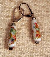 """White teardrop shaped """"millefiori"""" glass earrings"""