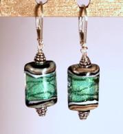 Sea foam green dichroic lampworked rectangular shaped earrings