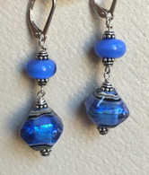 Double Arctic blue dichroic lampworked earrings