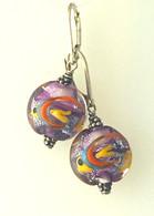 Purple pisces lampworked glass earrings