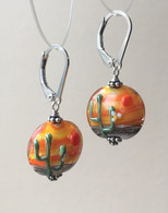 Summer Cactus lampworked glass earrings