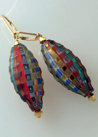 Madras  sculpted Murano glass olive shaped earrings with gold findings