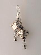 Imprinted diamond shaped Thai silver earrings