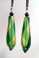 Grass and emerald green yin yang design drop shaped Murano glass earrings