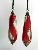 Red and honey yin yang design drop shaped Murano glass earrings