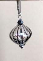 """Vertical black striped Murano glass """"sasso"""" earrings"""