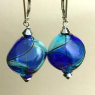 """Aqua and cobalt Murano glass yin yang """"sasso"""" earrings"""