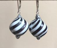 "Zebra striped black and white Murano glass ""sasso"" earrings"