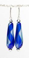 Cobalt and bluino yin yang design drop shaped Murano glass earrings