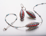 Madras blown and sculpted Murano glass, apatite and silver necklace