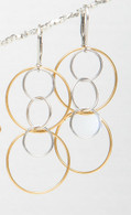 Quintuple gold vermeil and silver hoop earrings
