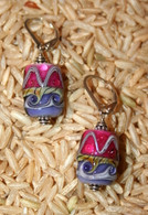 Mauve and purple lampworked rectangular earrings